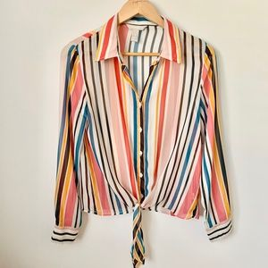 Banana Republic Sheer Striped Tie Front Blouse